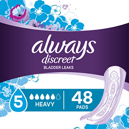 Always Discreet Incontinence Pads for Women, Heavy Absorbency, 48 Count Pack of 3, total 144 count