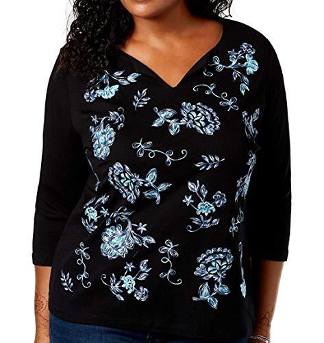 Karen Scott Womens Plus Embroidered V-Neck Pullover Top Black 2X