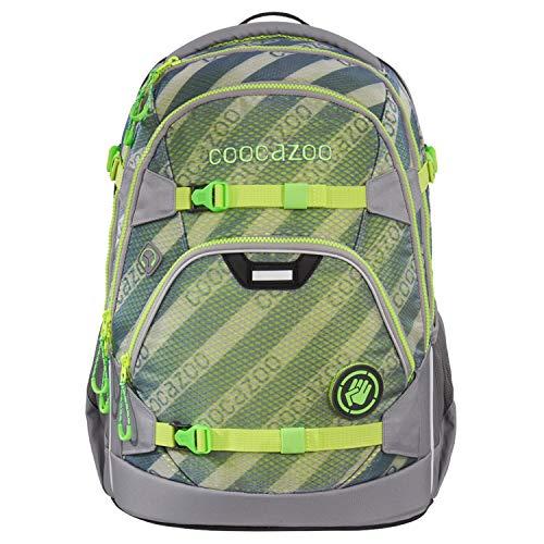 coocazoo Schulrucksack ScaleRale MeshFlash Neongreen grau-grün, ergonomischer Tornister, höhenverstellbar mit Brustgurt und Hüftgurt für Jungen ab der 5. Klasse, 30 Liter