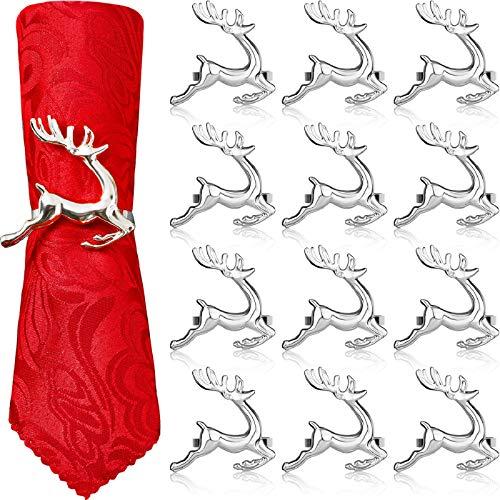 WILLBOND Serviettenringe mit Hirsch-Motiv, Weihnachten, Serviettenring, Rentier, Serviettenschnalle, für Urlaub, Abendessen, Partys, Hochzeit, Tischdekoration, Zubehör (Silber, 12 Stück)