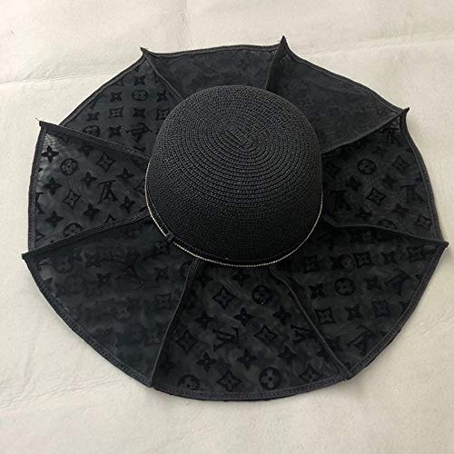 Sun Hat Straw Hat Fashion Vintage Letter Straw Sun Hats For Women Casual Sun Protection Wide Beach Sun Caps-7_One_Size