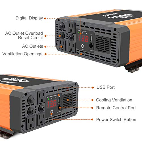 Ampeak Power Inverter 2000 Watt 3 AC Outlets and USB Port DC 12V to 110V AC Car Converter with Remote Control