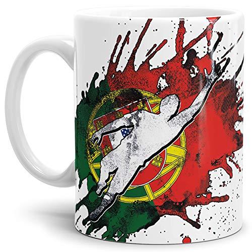Tassendruck Flaggen-Tasse Fussballer -Portugal - Fahne/Länderfarbe/WM 2018/Weltmeisterschaft/Cup/Tor/Weiss - Qualität Made in Germany
