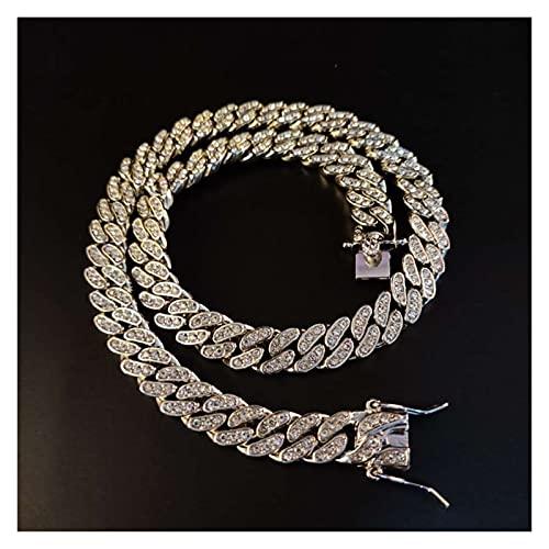 JIAH Collar de cadena de hiphop con diseño de hip-hop, de 11 mm, cadena cubana de Miami, joyería hiphop, regalo de moda (color principal de la piedra: 45,7 cm, color del metal: cadena de plata)