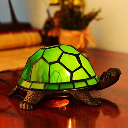 OMGPFR Kreativität Schildkröte Schreibtischlampen, Tiffany Tischlampe LED Retro Jahrgang Nachttischlichter, Befleckt Glasschirm Tischleuchten für Wohnzimmer Schlafzimmer Beleuchtung,Grün