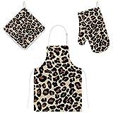 Orediy - Grembiule da cucina con motivo leopardato con pelliccia e supporto per pentole e guanti da forno, 3 pezzi, resistente al calore