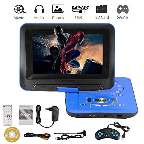 LayOPO Aucune Région 9' Lecteur DVD Portable, 270° Pivotant de Luminosité, 5 Heures de Batterie Rechargeable, Télécommande, 2 Prise Casque, Lecteur USB SD/MMC, Sortie AV, Noir
