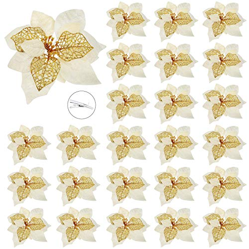 Waydress 24 Pieces Christmas Poinsettia Flowers Glitter Artificial Christmas Flower Decoration Xmas Tree Ornaments with Clips for Christmas Decorations, 8.6 Inches (Gold)