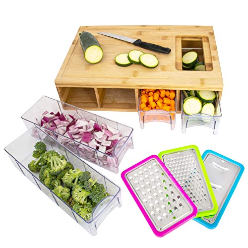 Cutting board with in-board food storage
