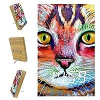 寝室用デジタル目覚まし時計キッチンオフィス3アラーム設定ラジオ木製卓上時計-かわいい猫の絵カラフルな動物の花