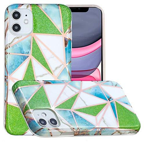 Miagon Marmor Hülle für iPhone 12 Mini,Dünn Weich Silikon Flexible Handyhülle Schutzhülle Galvanisiert Marble Bumper Handytasche Zurück Cover Gummi,Grün Dreieck