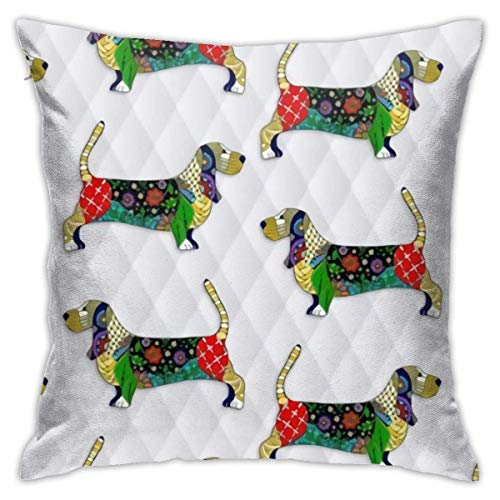 Lucky girlfriend Day of The Dead Bassett Hound Pillowcase Square Soft Plush Home Sofa Bed Car Decoration Pillowcase Cushion Cover -Include Insert 18'X 18' Inches