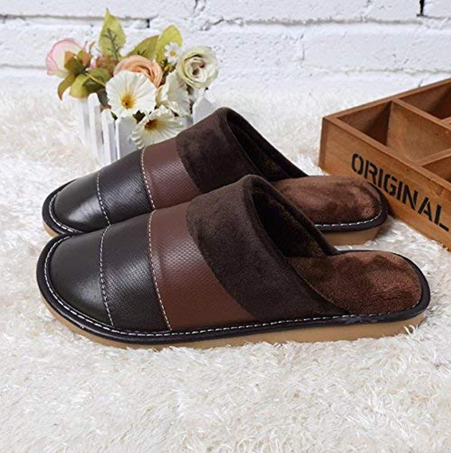 Men's Home Slippers Indoor Slippery and Warm Artificial Leather Slippers Patchwork color Winter and Autumn Classic Comfortable shoes