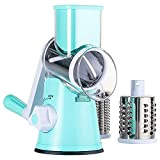 Acero inoxidable Rallador de queso Rotary Handheld Vegetable Slicer Rotary Drum Grater 3-Blades Manual Vegetable Fruit Cheese Shredder