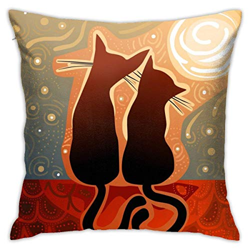 Cats Love Watching Moon Luna Starry Sky Print Throw Pillow Covers Decorative 18x18 Inch Pillowcase Square Cushion Cases for Home Sofa Bedroom Livingroom