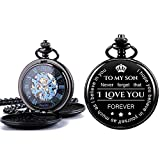 ManChDa Mechanical to My Son Double Cover Roman Numerals Dial Skeleton Personalized Engraved Pocket...