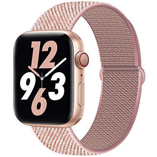 Qunbor Cinturino Compatibile con Apple Watch 38mm 40mm 42mm 44mm per iWatch Series 6 5 4 SE 3 2 1 Edition, Sport Nylon Intrecciato Loop Tessuto Regolabile Ricambio Flessibile Stoffa, Rosa Rosa