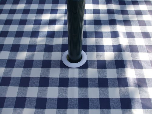 140 x 250 cm Nappe ovale en PVC/vinyle – Vichy Bleu avec trou pour parasol