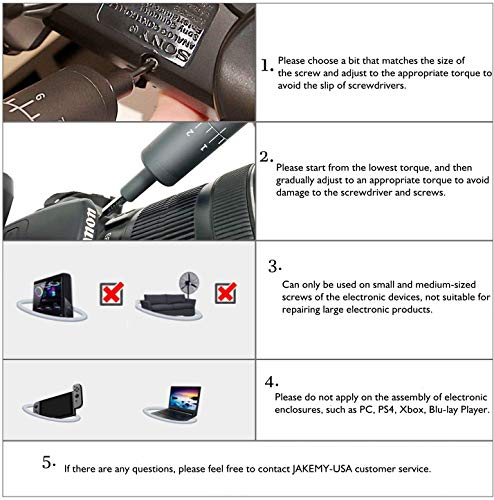 Electric Screwdriver, Jakemy Adjustable 8 Torque USB Type-C Rechargeable Multi-Function Magnetic Precision Power Screwdriver Set Repair Tool Kit with 40 Bits for iPhone, Watch, Smartphone