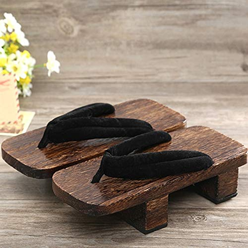 XTR Unisex Woman Paulownia Wooden Japanese Traditional Geta Clogs Man Naruto Ninja Cosplay Shoes Flip Flops Outdoor Sandals-Color9,44