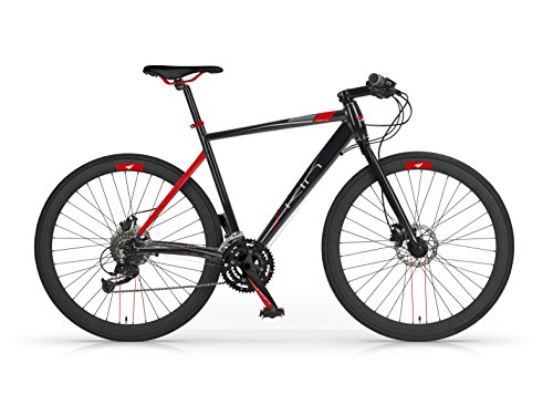 Bicicletta MBM Skin Ibrida in alluminio e freni idraulici top di gamma (Nera, H54)