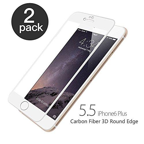 aiMaKE Panzerglas Compatible with iPhone 6 Plus/iPhone 6s Plus, Schutzfolie 3D-Ebene Ultra-klar 9H Härte Panzerglasfolie 5.5 Zoll Anti-Öl, Anti-Kratzen, Anti-Bläschen (2 Stück,nur 0,25 mm Weiß)