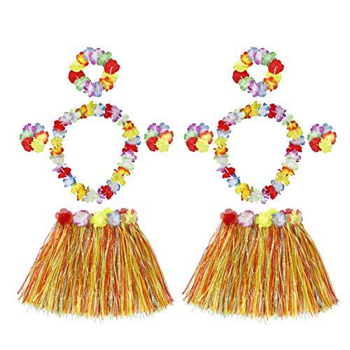 HONGXIN-SHOP Falda de Hierba Hawaiana con Elástica Flores Disfraces Guirnalda Diadema Pulsera Collar para Niñas Mujer Fiesta Hula Luau Accesorio 2 Sets