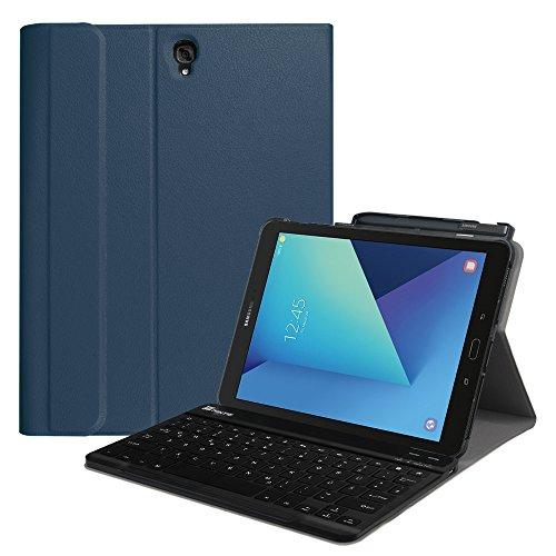 Fintie Tastatur Hülle für Samsung Galaxy Tab S3 T820 / T825 (9,68 Zoll) Tablet-PC - Ultradünn leicht Ständer Schutzhülle mit magnetisch Abnehmbarer drahtloser Deutscher Bluetooth Tastatur, Marineblau