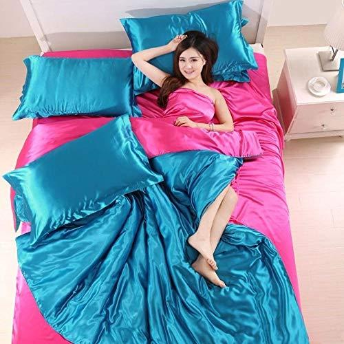 Bedding-LZ Juegos de sábanas 150,Bordado Anti-Seda Rosa de Gama Alta Multicolor Verano Lindo Sedoso Desnudo Dormir Seda Conjunto de Cuatro Piezas-W_2,0 m (4 Piezas)
