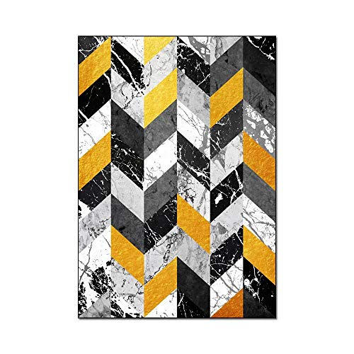 Woonkamer Tapijten Retro Moderne Marmeren Tapijt Geel Grijs Geometrisch Patroon Vloermat Slaapkamer Nachtkastje Kinderen Spelen Tent Antislip Yoga Mat,150x200cm(59x79inch)