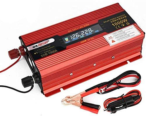 Convertidor de voltaje 12V 24V a 110 V 220V 1000W 2000W Convertidor de inversor de onda sinusoidal pura con enchufes de CA y puerto USB - Camión de RV del inversor del automóvil, para coche, caravana,