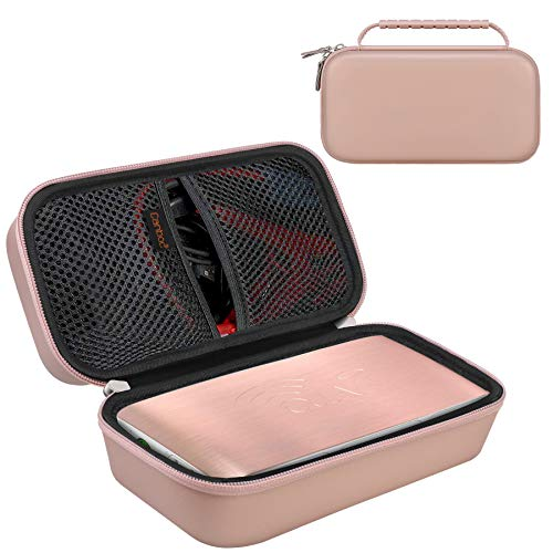 Canboc Hard Carrying Case for Halo Bolt Portable Car Jump Starter 58830/57720/44400 mWh Phone Laptop Charger Power Bank, Mesh Pocket for Jumper Cable, AC Wall Charger, Car Charging Adapter, Rose Gold