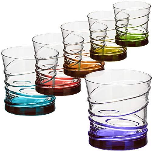 com-four® 6x Trinkgläser im stilvollen modernen Design, spülmaschinenfest (Design 2-06 Stück)
