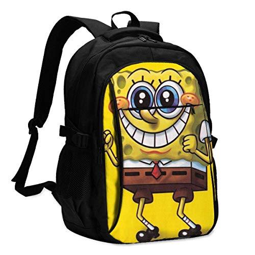 Hdadwy Spongebob Schwammkopf Rucksack Reise Laptop Rucksack mit USB-Ladeanschluss Kopfhörer-Schnittstelle College Bookbag für Frauen Männer Jungen Geschäftsreisen Anti-Diebstahl-Rucksack