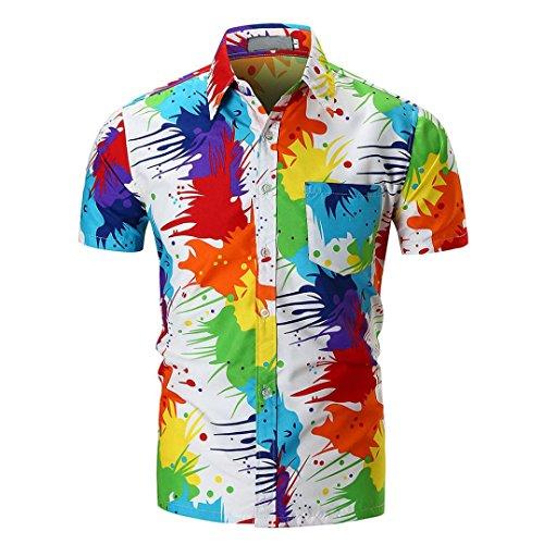 URSING Herren Hawaiihemd Hawaiishirt Urlaub Hemd Strandhemd Freizeithemd Hawaii-Print Mit Kurzarm Coole Bluse Leinenhemd Herrenhemden Slim Fit Hemden Sommer Tops (XL(Asian XL=EU L), Mehrfarbig)