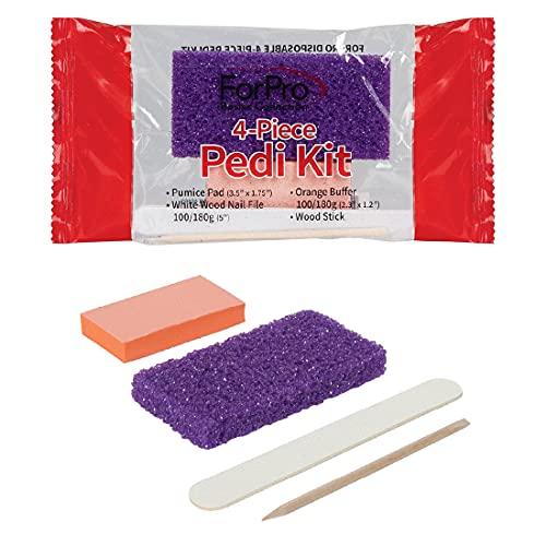 ForPro Basics 4-Piece Pedicure Kit, Purple Pumice Pad, White Wood Nail File...