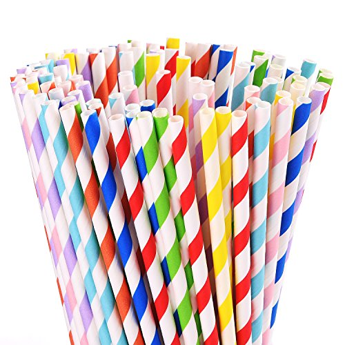 ALINK 200-Pack Biodegradable Paper Straws, Assorted Rainbow Striped Colors Smoothie Straws
