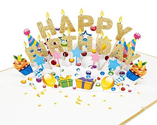 LIMAH® Pop-Up 3D Grußkarte/ Hochwertige PopUp 3D Geburtstagskarte /Happy Birthday Motiv/in Weiss Gold/Groß mit Glitzer
