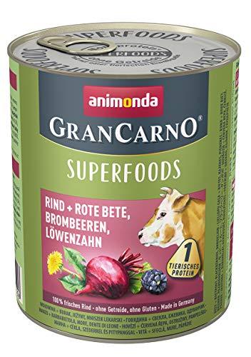 animonda Gran Carno adult Superfoods Hundefutter, Nassfutter für ausgewachsene Hunde, Rind + Rote Bete, Brombeeren, Löwenzahn, 6 x 800 g, 6er Pack (6 x 0.8 kilograms)