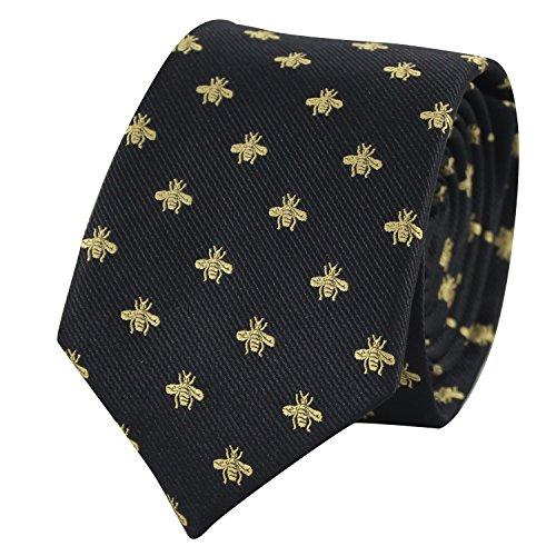 Bee Necktie With Box Gold Bee Pattern tie