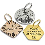 PawFurEver Personalized Dog Tags | Ships in 1-2 Business Days | Dark Etching | Variety of Designs | Made in USA (Gold, Hexagon)