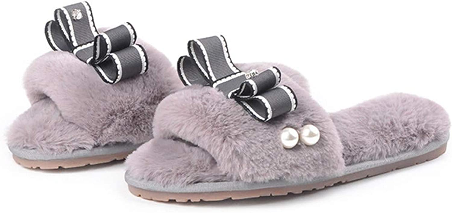Zarbrina Womens Fur Lining Warm Home Slippers Bowknots Stitches Pearls Open Toe Single Strap Non-Skid Wear