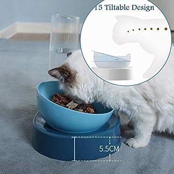 CHANG Gamelle à eau pour chien et chat - Double eau et gamelle - Distributeur automatique d'eau avec gamelle - Ensemble de gamelles pour chiens et chats de petite ou moyenne taille