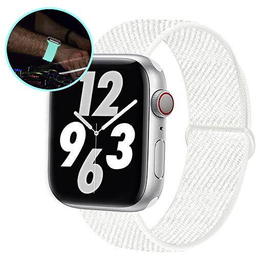 Qunbor Cinturino Compatibile con Apple Watch 38mm 40mm 42mm 44mm per iWatch Series 5 4 3 2 1 Edition, Sport Nylon Intrecciato Loop Tessuto Ricambio Flessibile Bagliore di Notte, Riflettente Bianca