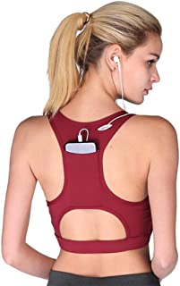 ZYDP Women's High Impact Back Pocket Running Padded Yoga Bra Racerback Activewear Bras (Color : Wine red, Size : S)