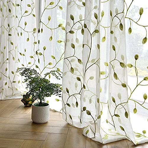 TIYANA Leaf Curtain Embroidered Sheer Window Voile Panel for Bedroom & Kitchen Rod Pocket Top (40x63 inch, 1 Piece, Green Leaf White Sheer)