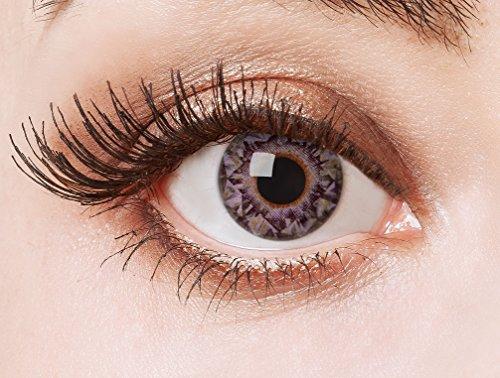 aricona Kontaktlinsen Farblinsen  N°567 - Farbige 12-Monats Kontaktlinsen Paar ohne Stärke, weich und angenehm zu tragen, Wassergehalt: 42%, Diamonds are girl´s best friends , Farbe:Lila