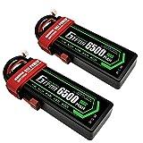 GTFDR 2PCS 2S 7.4V 6500mAh 100C RCバッテリー バッテリーパック、RCカー(車)/ RCボート/RCトラック用 専用電池