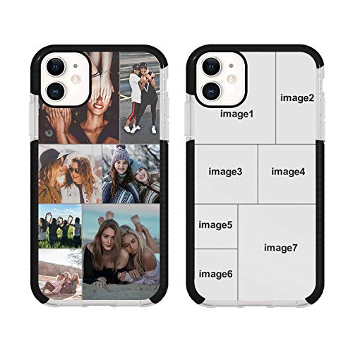 Personalized Multi-Picture Collage Phone Case for iPhone 11, Custom Photos Phone Cases,Customized Phone Cover for Birthday Xmas Valentines Friends Her and Him,Black Impact Protective Case