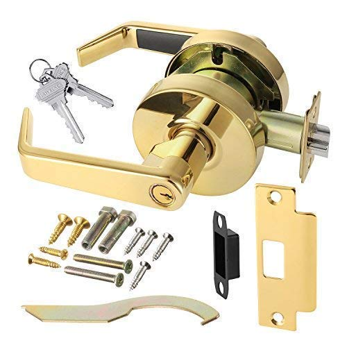 Door Handle Cylindrical Lock Storeroom Lock Function Key unlocks Exterior Polished Brass Finish LH5307L-US3 UL Certified ANSI/BHMA Grade 2 Commercial Door Lever for Heavy Duty Use